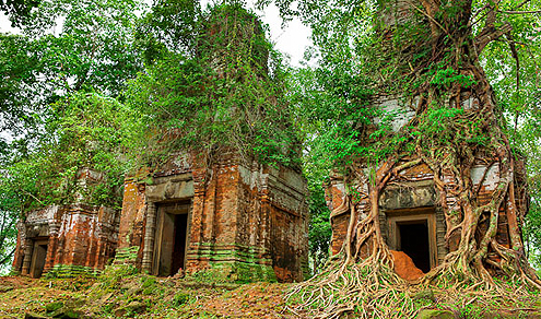 Three of the Wat Prasat Pram towers - probably the most evocative site at Koh Ker.