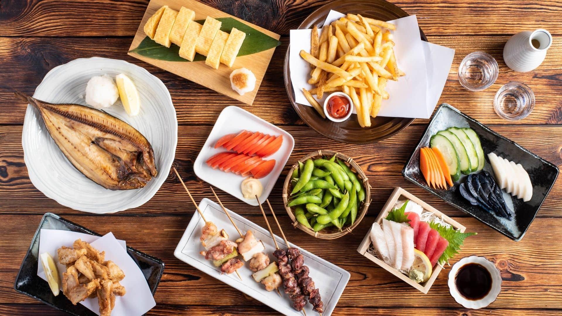 Comida servida en Restaurante Gonpachi