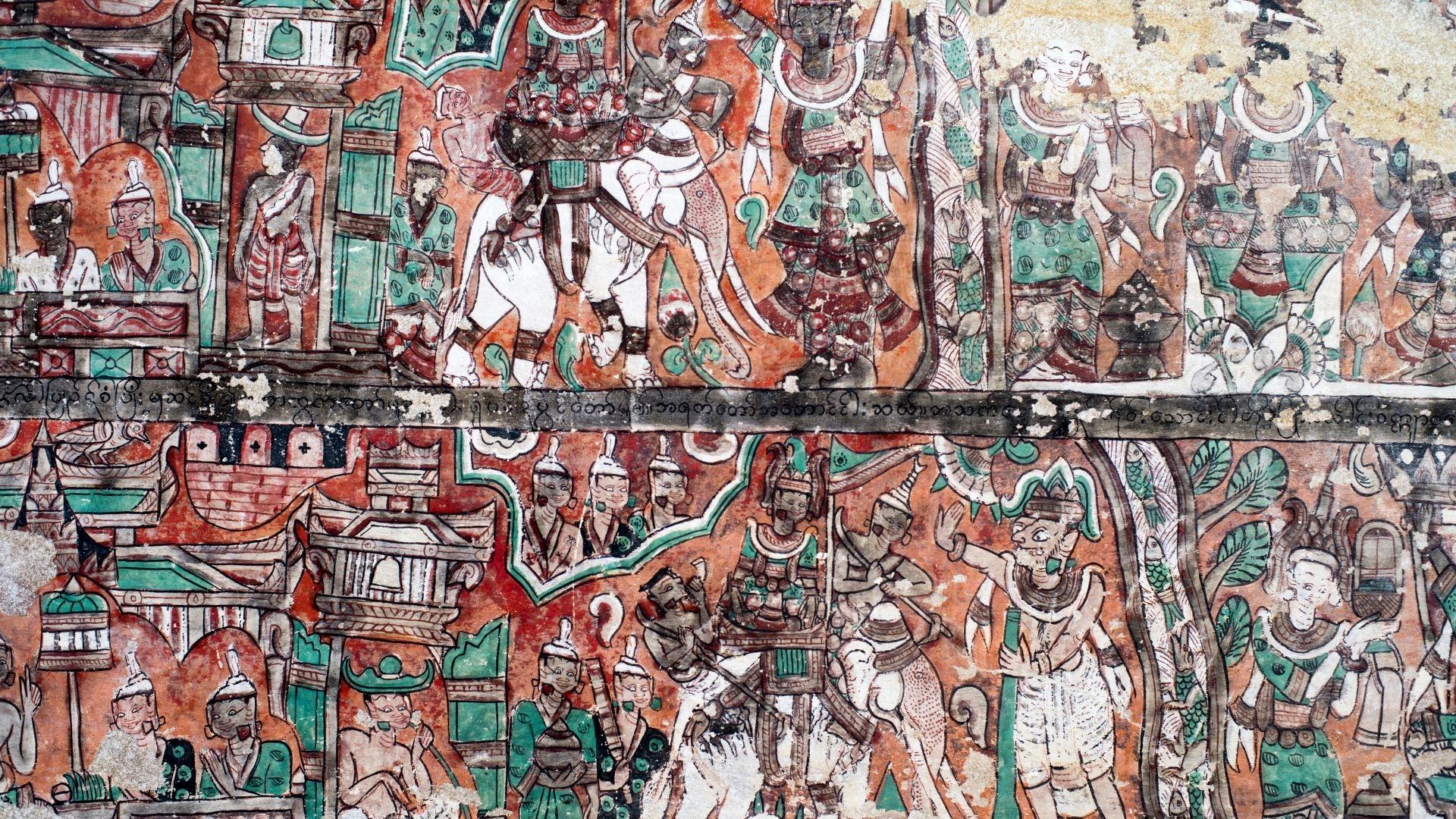 Pinturas en las paredes de la cueva de Powintaung