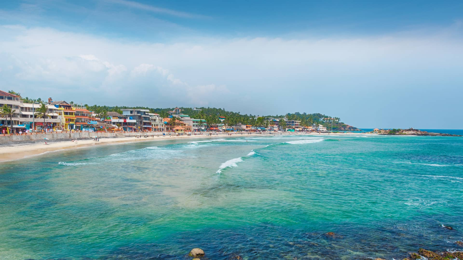 La mejor playa en Kerala es Kovalam una playa paradisiaca